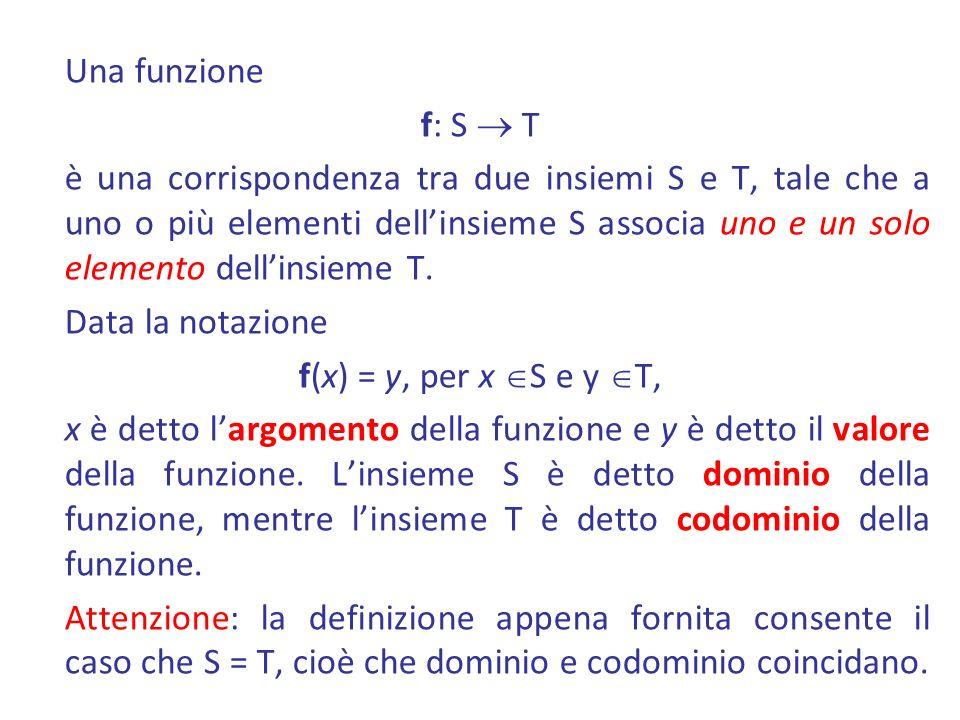 Una funzione f: S  T è una corrispondenza tra due insiemi S e T, tale che a uno o più elementi dell'insieme S associa uno e un solo elemento dell'insieme T.