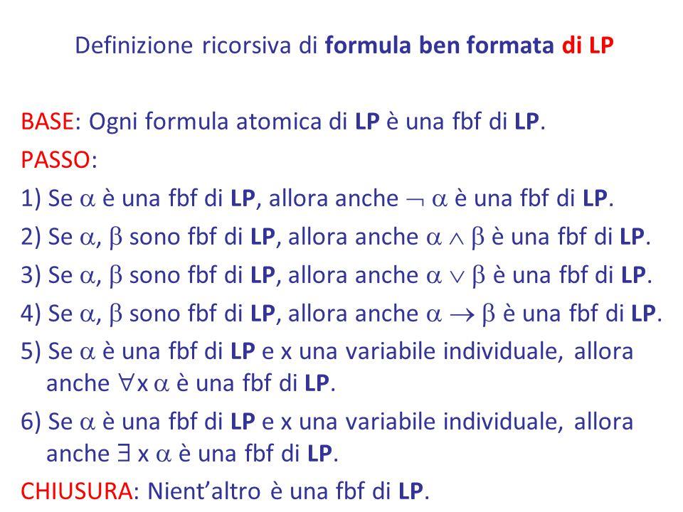 Definizione ricorsiva di formula ben formata di LP BASE: Ogni formula atomica di LP è una fbf di LP.
