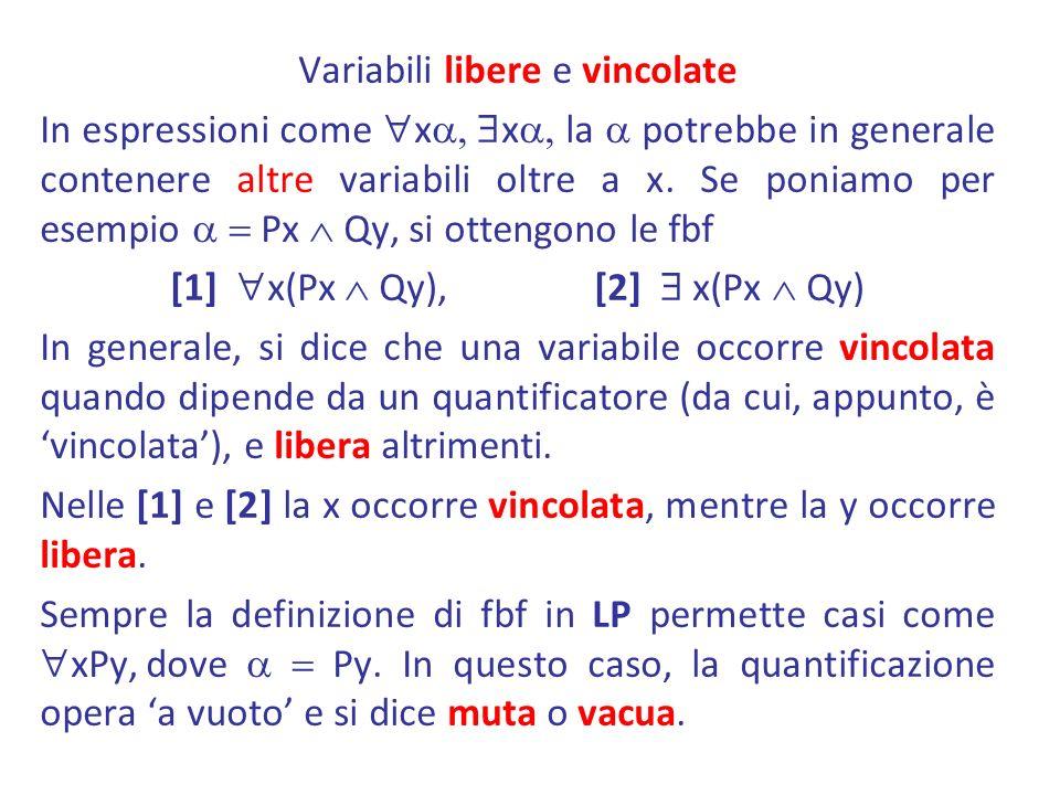 Variabili libere e vincolate In espressioni come xa, xa, la a potrebbe in generale contenere altre variabili oltre a x.
