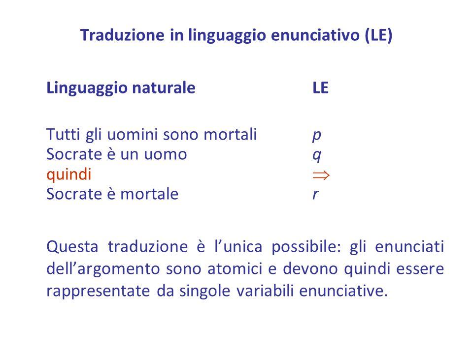 Traduzione in linguaggio enunciativo (LE)