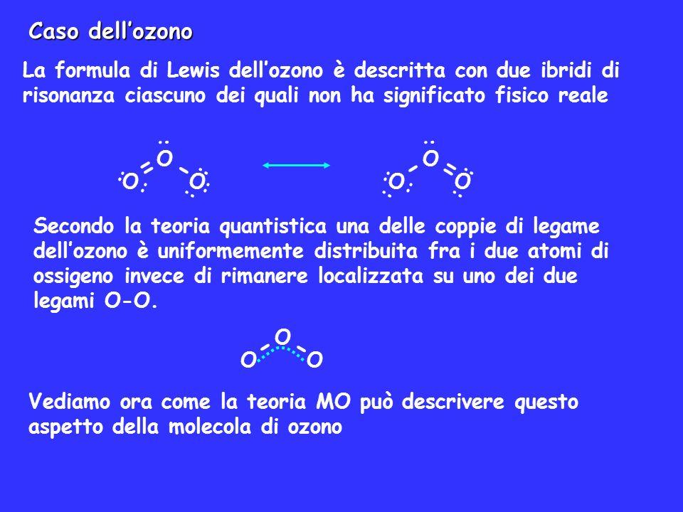 Caso dell'ozono La formula di Lewis dell'ozono è descritta con due ibridi di risonanza ciascuno dei quali non ha significato fisico reale.