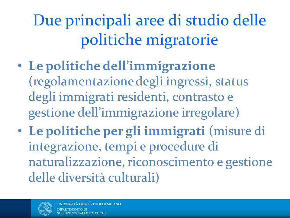 Due principali aree di studio delle politiche migratorie