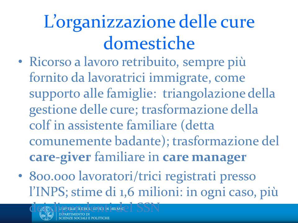 L'organizzazione delle cure domestiche