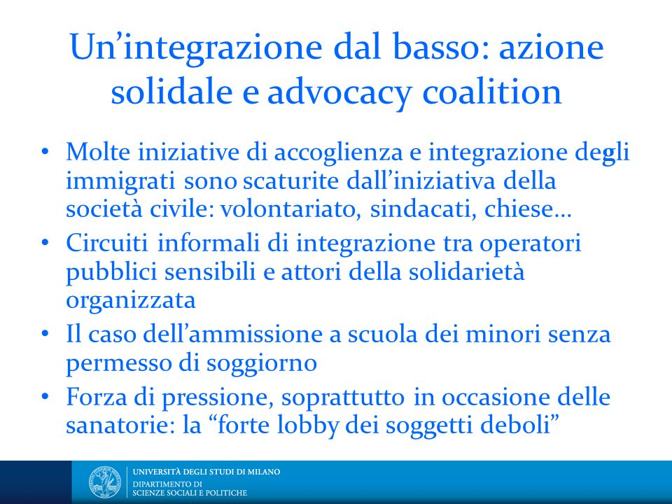 Un'integrazione dal basso: azione solidale e advocacy coalition