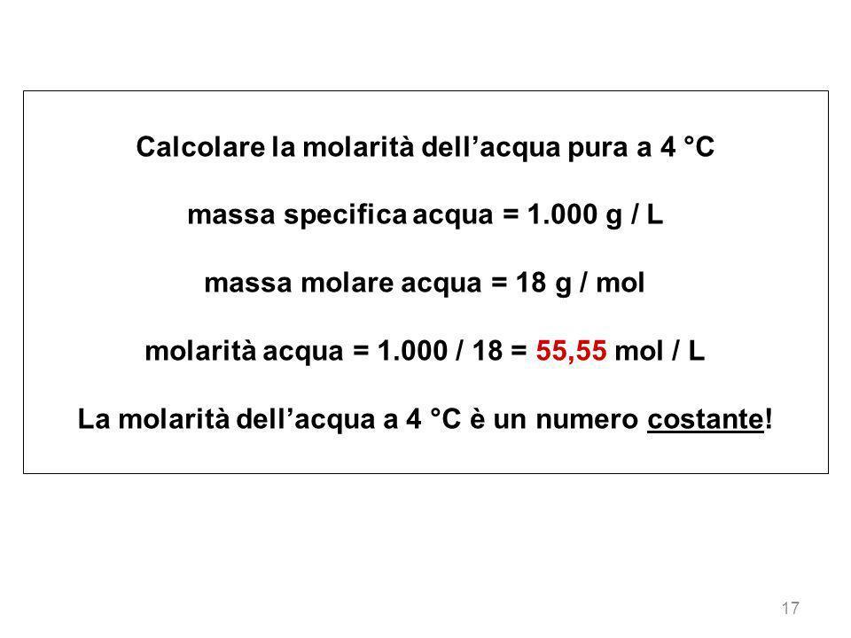 Calcolare la molarità dell'acqua pura a 4 °C