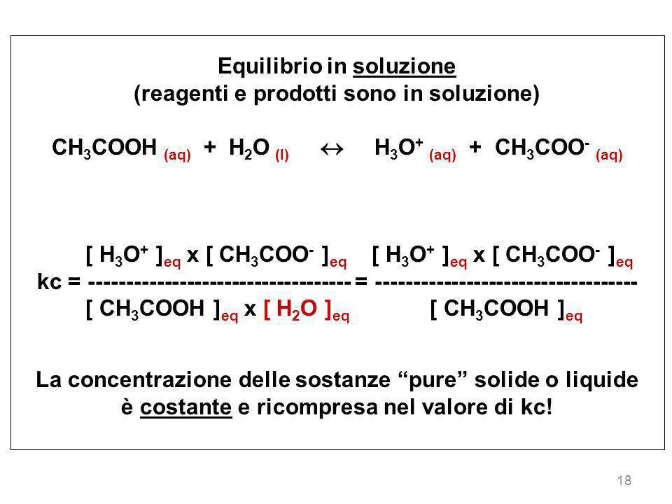Equilibrio in soluzione (reagenti e prodotti sono in soluzione)