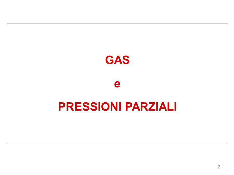GAS e PRESSIONI PARZIALI