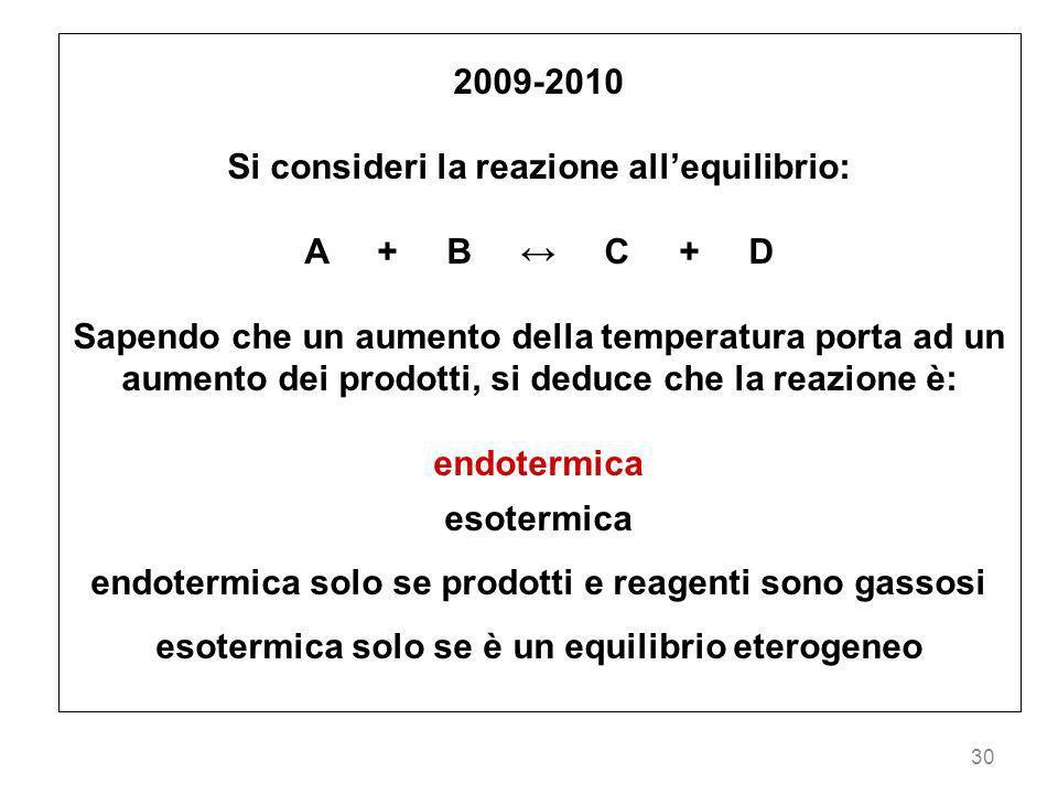 Si consideri la reazione all'equilibrio: A + B ↔ C + D