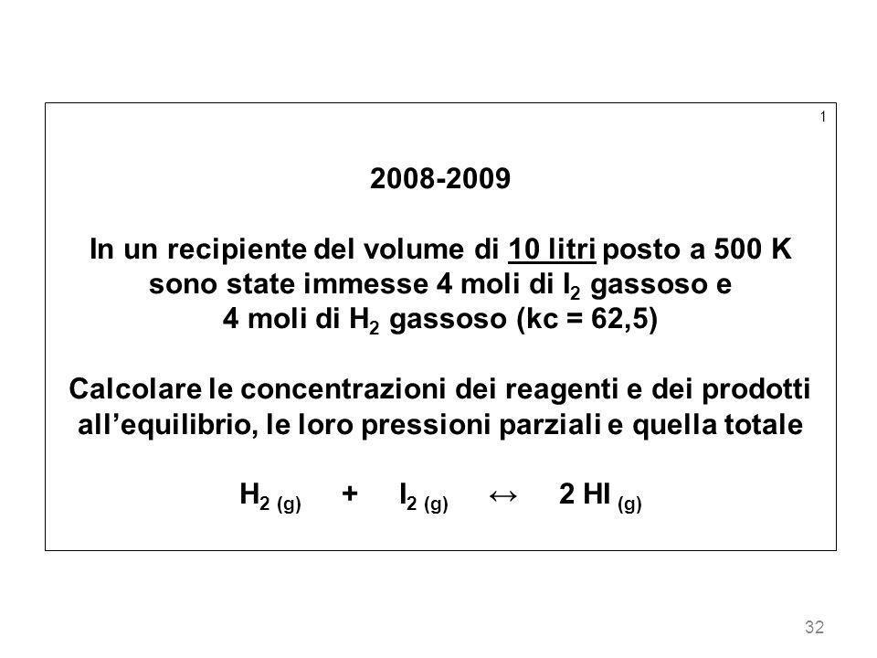 1 2008-2009. In un recipiente del volume di 10 litri posto a 500 K sono state immesse 4 moli di I2 gassoso e.