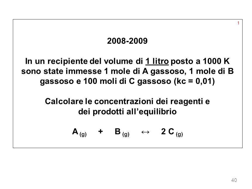 Calcolare le concentrazioni dei reagenti e