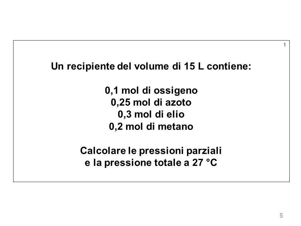 Un recipiente del volume di 15 L contiene: 0,1 mol di ossigeno