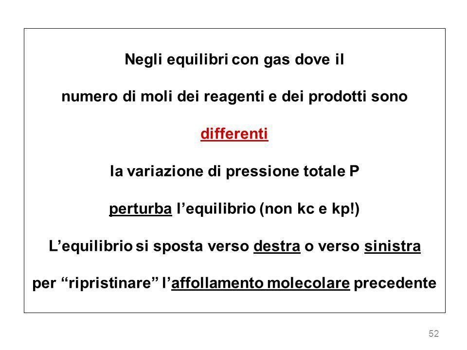 Negli equilibri con gas dove il