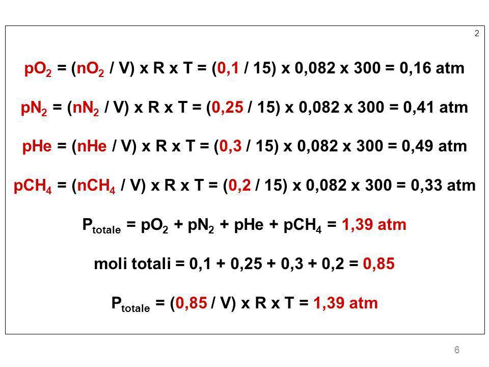 pO2 = (nO2 / V) x R x T = (0,1 / 15) x 0,082 x 300 = 0,16 atm