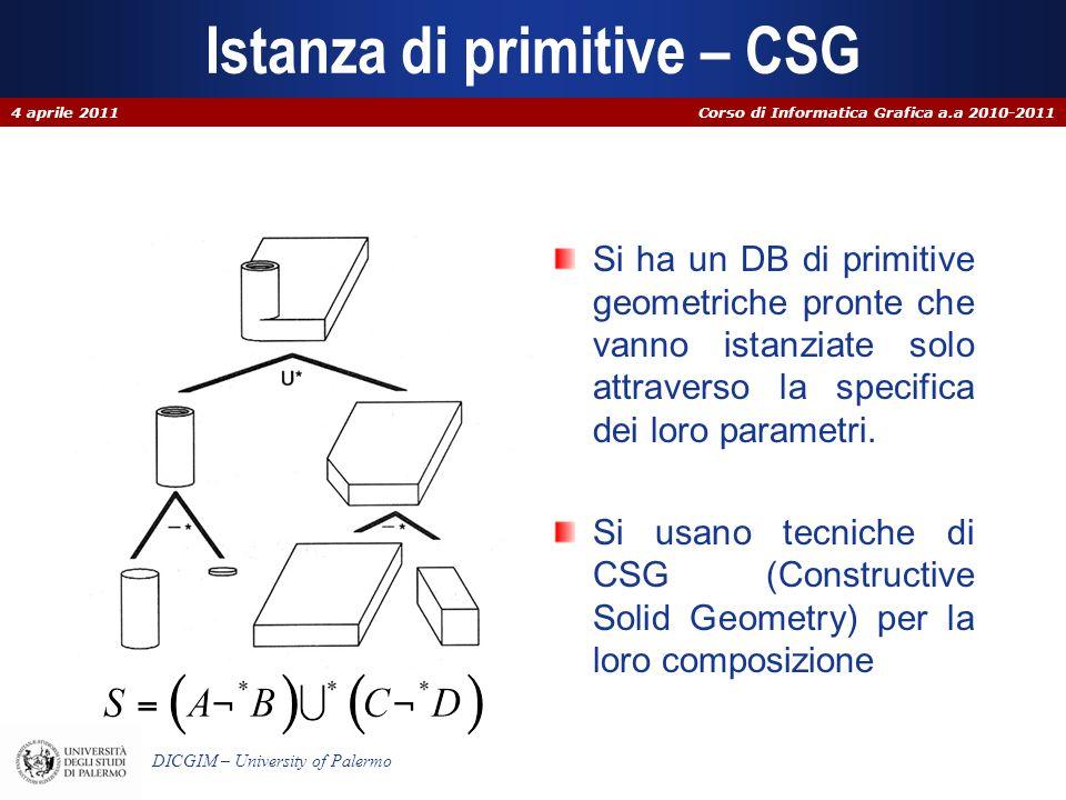 Istanza di primitive – CSG