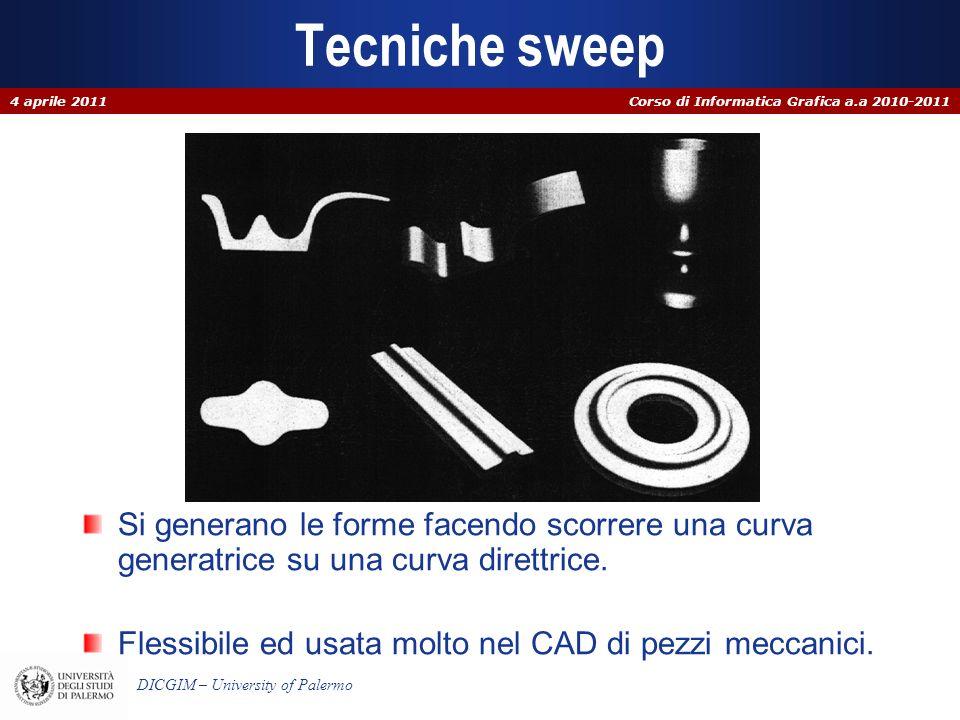 Tecniche sweep 4 aprile 2011. Si generano le forme facendo scorrere una curva generatrice su una curva direttrice.