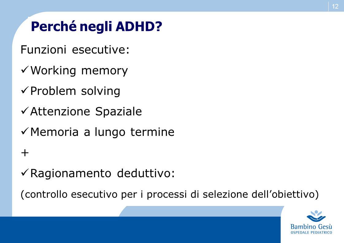 Perché negli ADHD Funzioni esecutive: Working memory Problem solving
