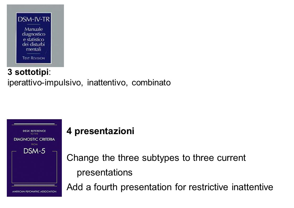 Change the three subtypes to three current presentations