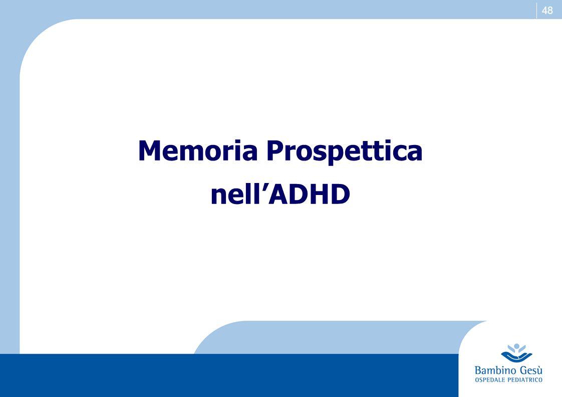 Memoria Prospettica nell'ADHD