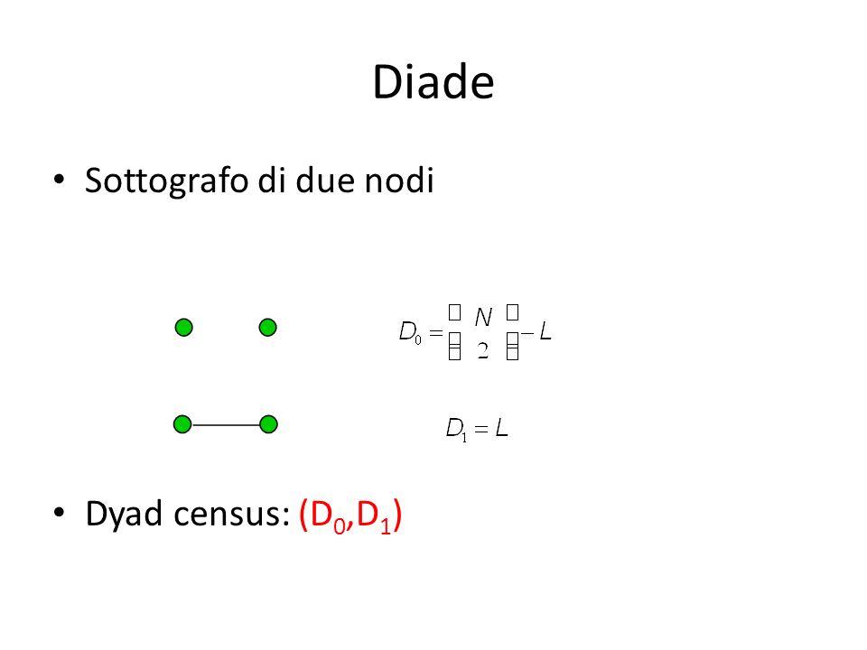 Diade Sottografo di due nodi Dyad census: (D0,D1)