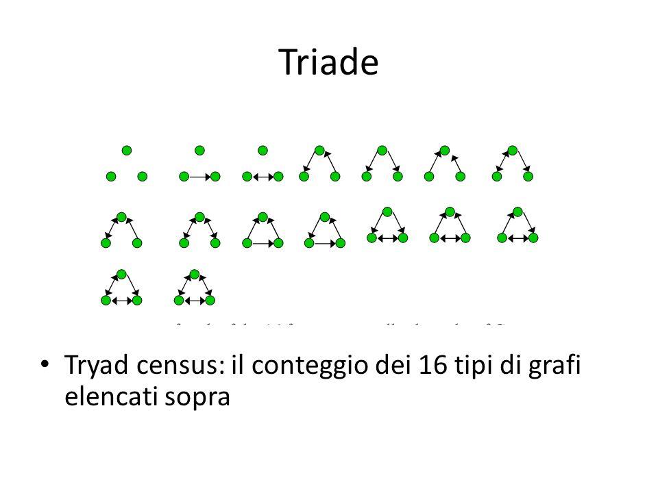 Triade Tryad census: il conteggio dei 16 tipi di grafi elencati sopra