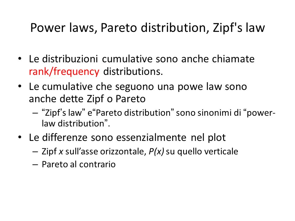Power laws, Pareto distribution, Zipf s law