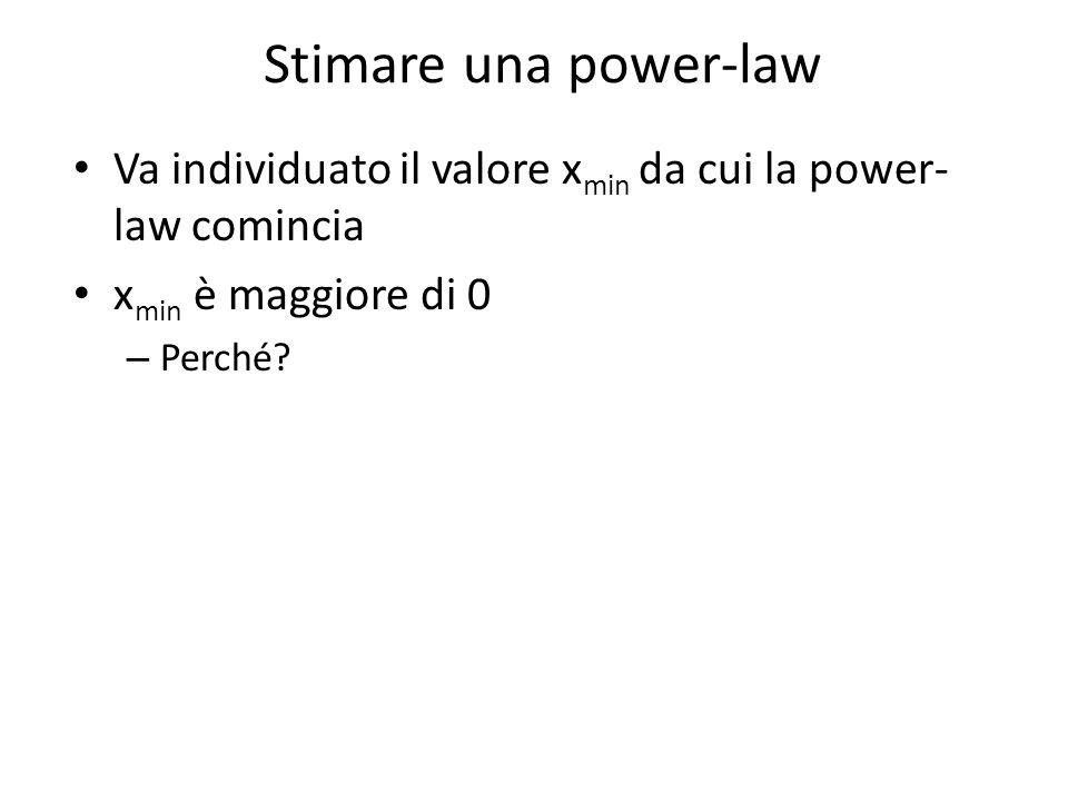 Stimare una power-law Va individuato il valore xmin da cui la power-law comincia. xmin è maggiore di 0.