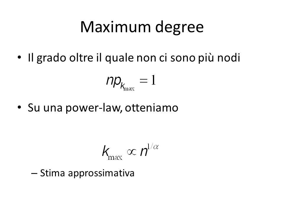 Maximum degree Il grado oltre il quale non ci sono più nodi