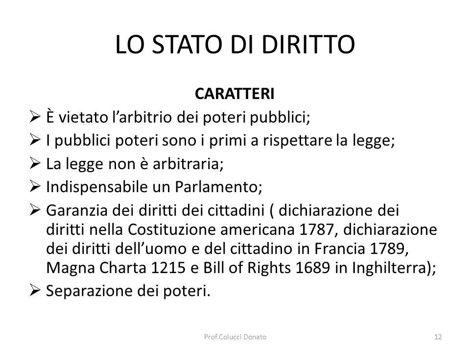 LO STATO DI DIRITTO CARATTERI