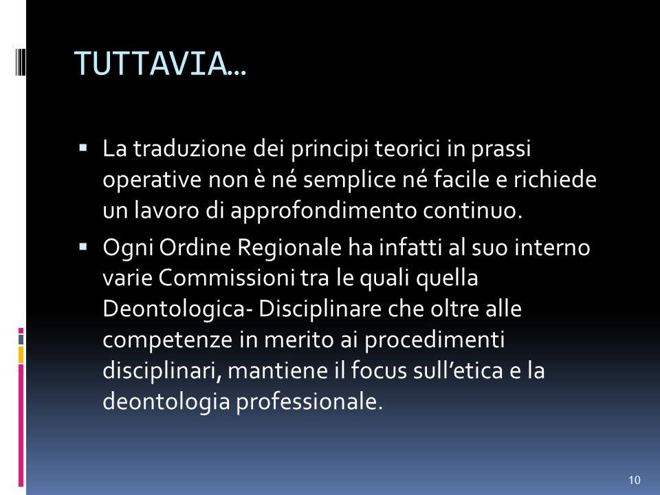 TUTTAVIA…La traduzione dei principi teorici in prassi operative non è né semplice né facile e richiede un lavoro di approfondimento continuo.