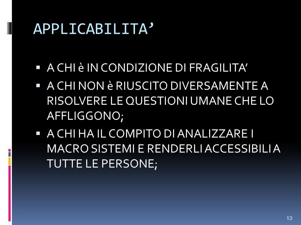 APPLICABILITA' A CHI è IN CONDIZIONE DI FRAGILITA'
