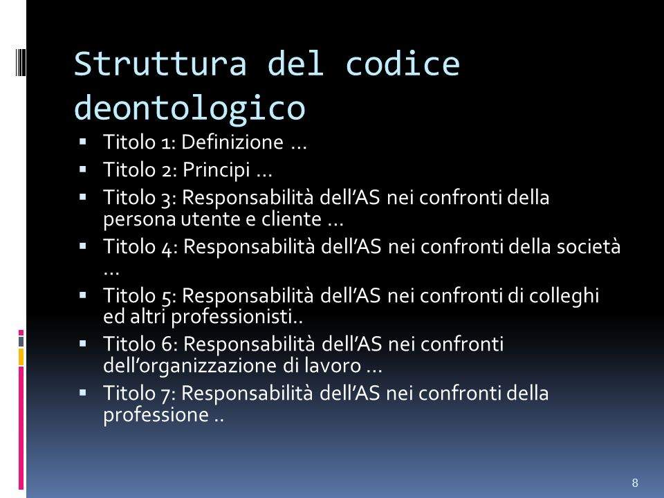 Struttura del codice deontologico