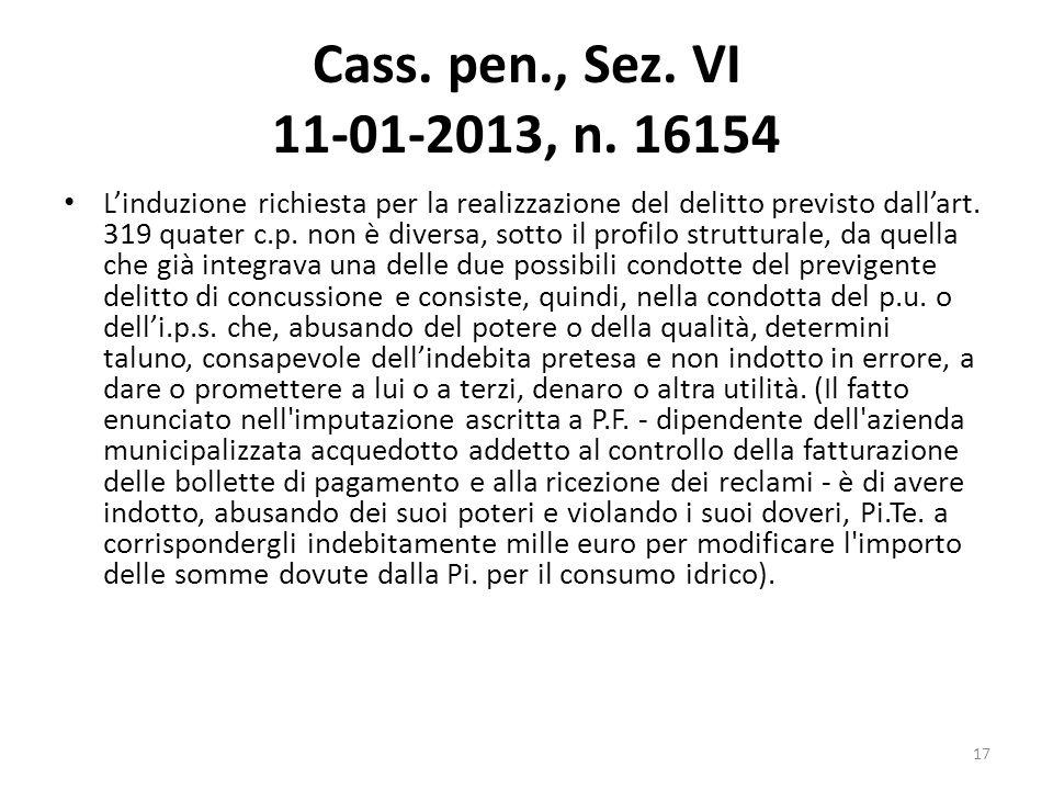 Cass. pen., Sez. VI 11-01-2013, n. 16154