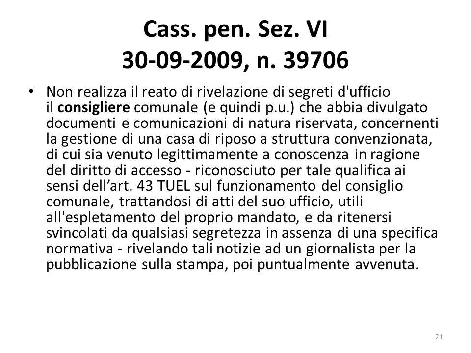 Cass. pen. Sez. VI 30-09-2009, n. 39706