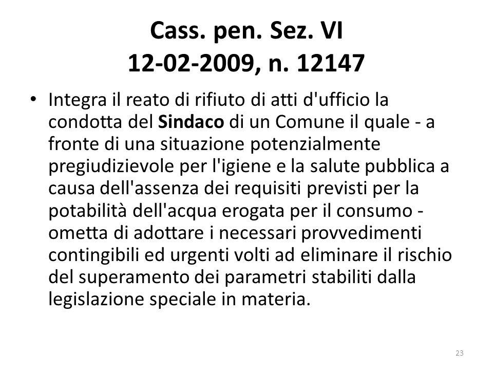 Cass. pen. Sez. VI 12-02-2009, n. 12147