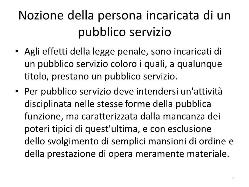 Nozione della persona incaricata di un pubblico servizio