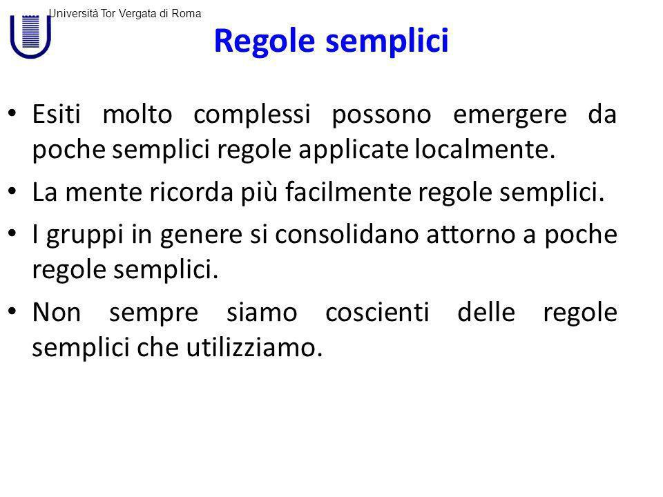Regole semplici Esiti molto complessi possono emergere da poche semplici regole applicate localmente.