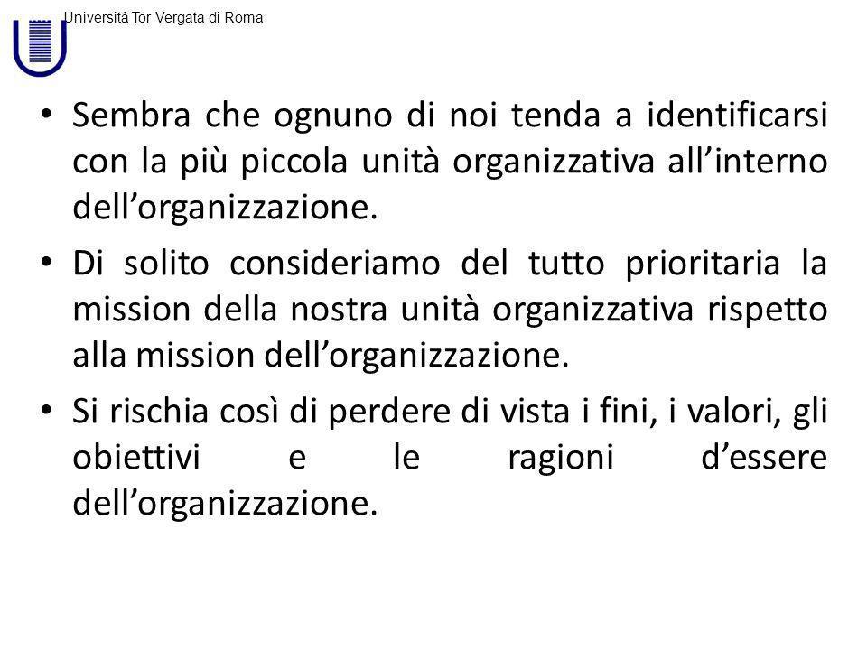 Sembra che ognuno di noi tenda a identificarsi con la più piccola unità organizzativa all'interno dell'organizzazione.
