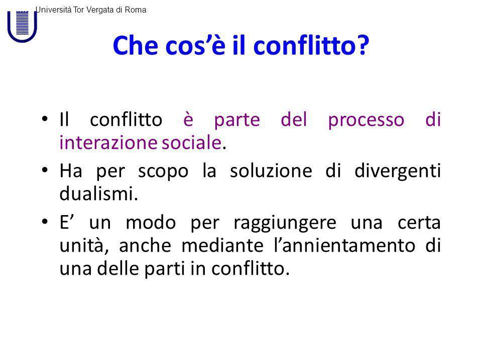 Che cos'è il conflitto Il conflitto è parte del processo di interazione sociale. Ha per scopo la soluzione di divergenti dualismi.