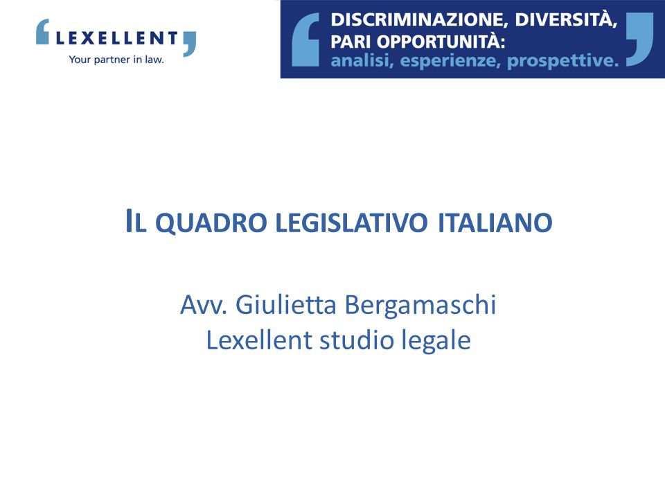 Il quadro legislativo italiano Avv