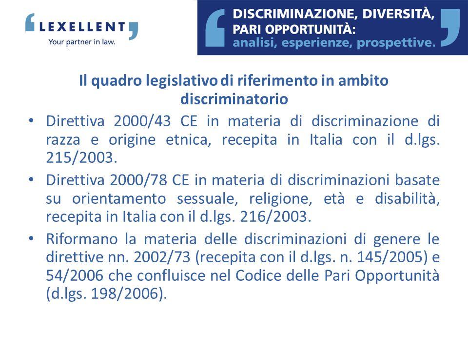 Il quadro legislativo di riferimento in ambito discriminatorio