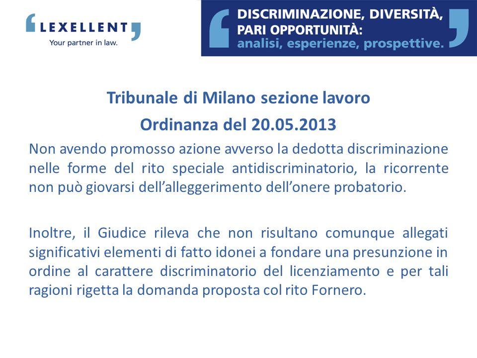 Tribunale di Milano sezione lavoro