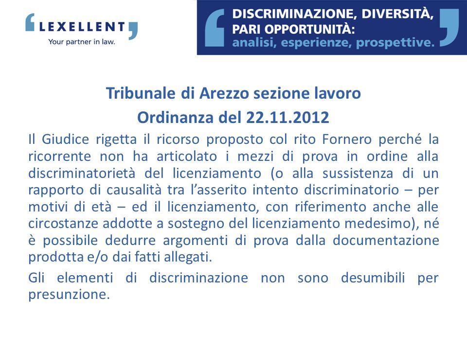 Tribunale di Arezzo sezione lavoro