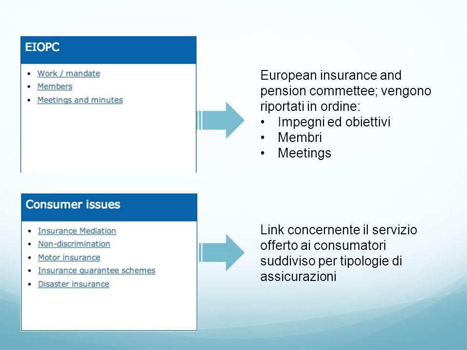European insurance and pension commettee; vengono riportati in ordine: