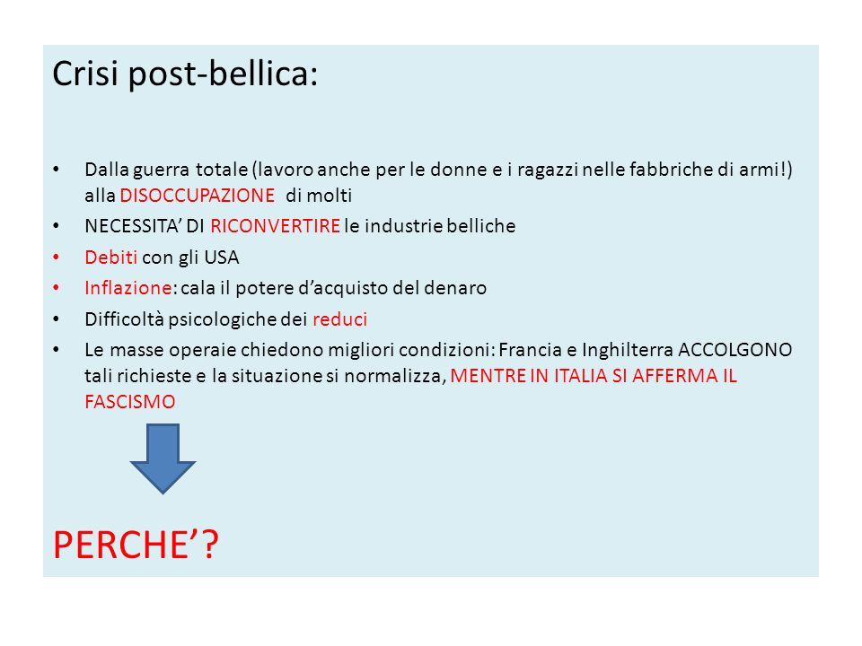 PERCHE' Crisi post-bellica: