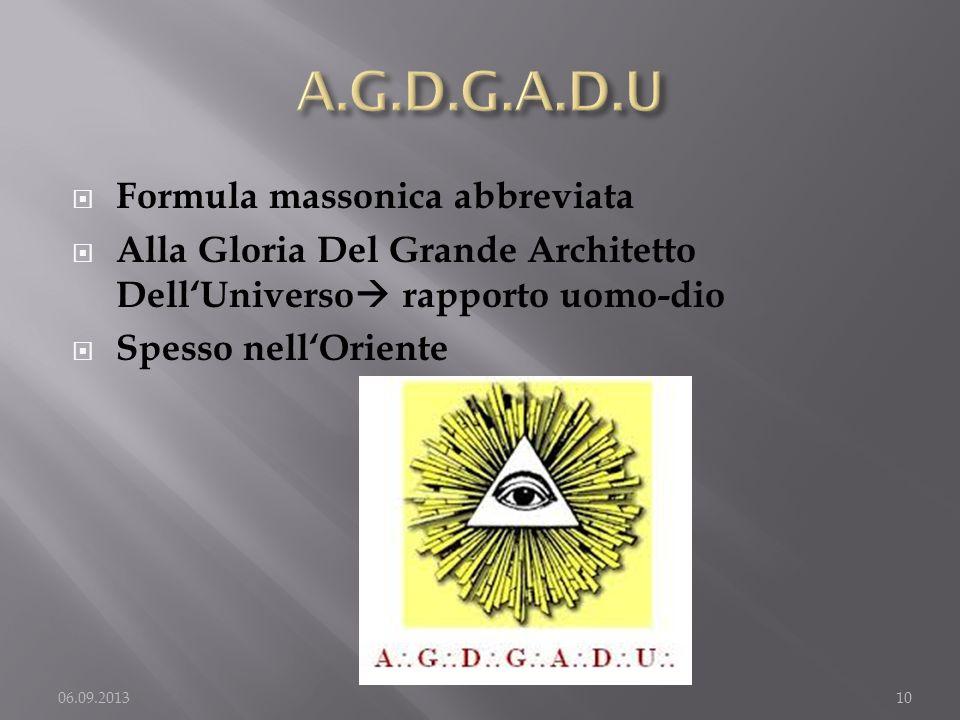 A.G.D.G.A.D.U Formula massonica abbreviata