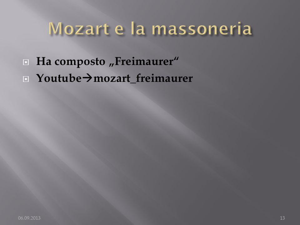 """Mozart e la massoneria Ha composto """"Freimaurer"""