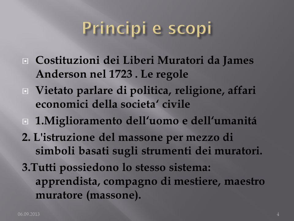 Principi e scopi Costituzioni dei Liberi Muratori da James Anderson nel 1723 . Le regole.