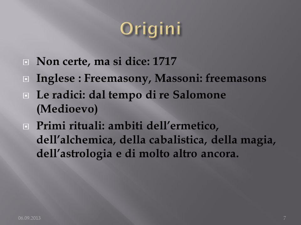 Origini Non certe, ma si dice: 1717