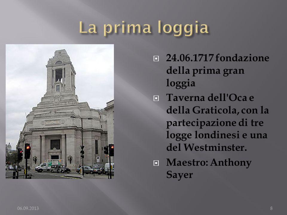 La prima loggia 24.06.1717 fondazione della prima gran loggia