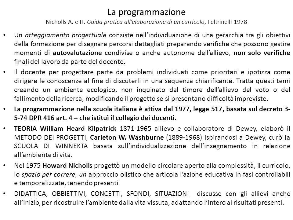 La programmazione Nicholls A. e H